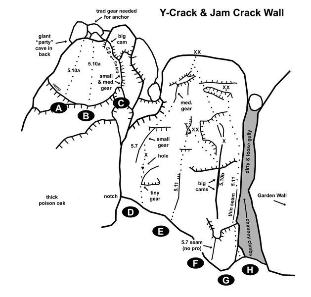 """Y-Crack & Jam Crack Wall<br> <br> Approach by heading to Garden Wall then continuing up and left. The first climb you come to should be the obvious, overhanging off-width crack (""""Sgt. Pepper's""""). <br> <br> A. Rovert 5.10a TR Move up the ramp a bit, then follow the brown streak to the top. Approach the base by climbing Private Pepper and moving left mid route. Alternatively, approach by rapping in from the top of """"Y-Crack"""" (gear needed for anchor). TR – Ivan Jasinovich, Bob Little, John Merriam, 1988.<br> <br> B. Why Climb? 5.10a TR. About half way between Rovert and Y-Crack. FA – unknown.<br> <br> C. Y-Crack 5.9 Small to large gear. Bring a big cam (4"""") for the crux. Move left at the """"Y"""" or bail out right for an easier time. Alternatively, you can TR by rapping in from the top of the crack (bring gear and long slings to set up TR). FA – Chris Moes & Ken Klis, 1986.<br> <br> D. Private Pepper 5.7 1 bolt + small to medium gear. Start at the notch between Midnight Spire and the far left side of Jam Crack Wall. FA – John Knight & Chris Manning, 2008.<br> <br> E. Fester Finger 5.11 TR Starts about 15' left of """"Sgt. Pepper's."""" Very thin and very steep. TR – Hans Florine & Mike Lopez, 1987.<br> <br> F. Sergeant Pepper's Lonely Hearts Hand Jam 5.10b 1 bolt + small to large gear. A very challenging offwidth and off-balance crack. Bring your largest cam (4""""+) to protect the crux. Continue up to the top by clipping one bolt and inserting gear or move left after the overhang and rappel or TR off the """"Fester Finger"""" anchors. FA – Tobin Sorenson (solo), late '70s. <br> <br> G. Revolver Arête 5.11 TR Stay right of """"Sgt. Pepper's"""" on the arête. Thin, overhanging, and off-balance. Work your way up as you try and fight the barn--door effect. Set up the TR by leading """"Private Pepper"""" or """"Sgt. Pepper's"""" and then rapping down to """"Revolver"""" anchors. TR – Ken Klis & John Knight, 2008. <br> <br> H. Chimney Climbs TR Various chimney and face climbs can be top roped from the """"Revolver"""" ancho"""