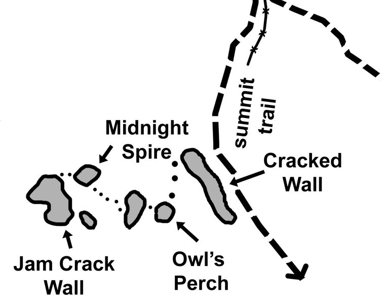 Overview of Owl's Perch Area. It is possible to traverse to Midnight Spire & Jam Crack area if you don't mind some bush whacking.