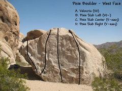 Rock Climbing Photo: Photo/topo for the Pixie Boulder (West Face), Josh...