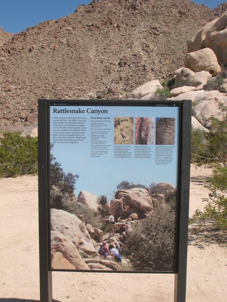 The trailhead sign for Rattlesnake Canyon, Joshua Tree NP