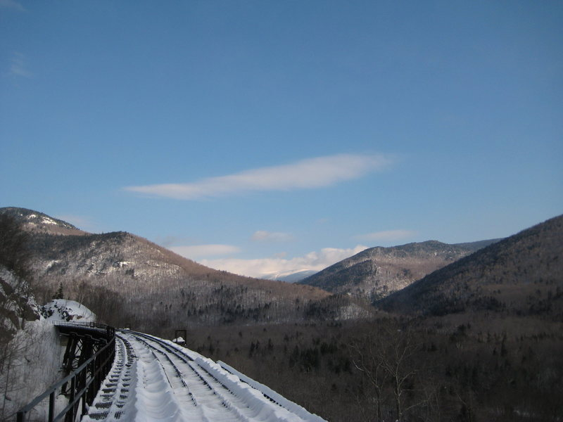 The Railroad trestle. The ice climbing spot is just at the end of the bridge, where they cut through the hill for the train tracks.