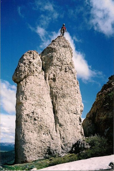 Rock Climbing Photo: The route follows the crack splitting the face bet...