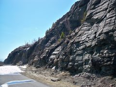 Rock Climbing Photo: A shot of the cliff as seen from the highway parki...