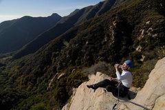 Rock Climbing Photo: Kathleen enjoys the spectacular views from atop Lo...