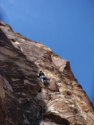 Rock Climbing Photo: Paul Horton leading the right crack on pitch 2.