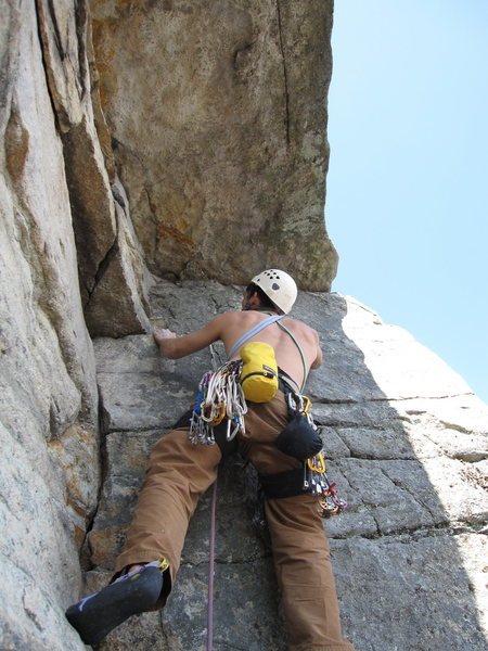 Rock Climbing Photo: Starting out the roof on P3. Very fun moves.