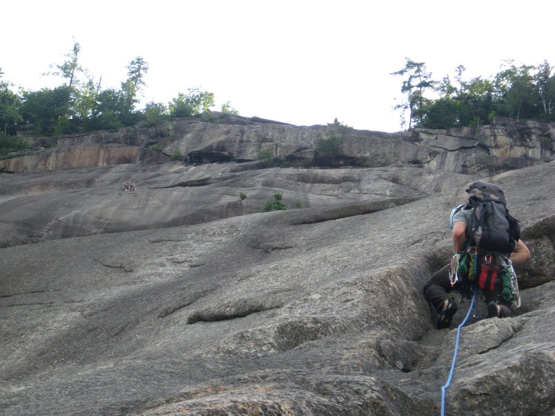 Rock Climbing Photo: Climbing the slabs of Whitehorse. Forgot to bring ...
