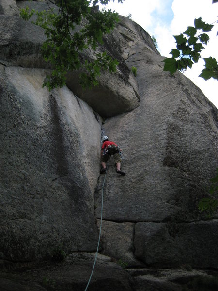The first pitch of The Book of Solemnity, Cathedral Ledge, NH.