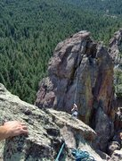 Rock Climbing Photo: View of the second pinnacle from the anchor on the...