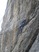 Rock Climbing Photo: Josh getting to the ledge.