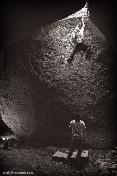 Rock Climbing Photo: Emily on the FA of Eating Stars, V4.  Wichita Moun...