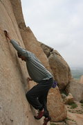Rock Climbing Photo: Me working the crimps on the Left Trangle