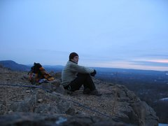Rock Climbing Photo: Photo from top of main cliff at sunset (January 20...