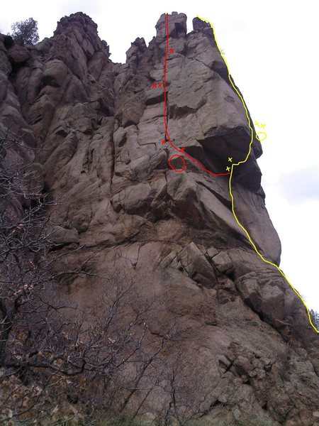 The yellow line shows the Nose, with the belay above the roof.  The red line shows Alabama Crack with the belay on the arete.  There are large loose blocks just below the last fixed piton near the top of Alabama.  Hope this helps!