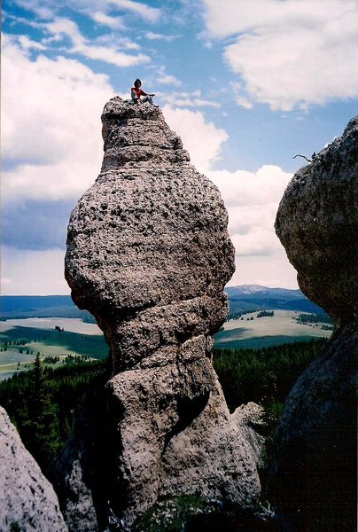 Atop the Dirty Hippie. NWTDF ascends the pillar on the left-hand lower face and through the center of the upper face.
