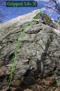 Rock Climbing Photo: The contrived but fun line of gripped...