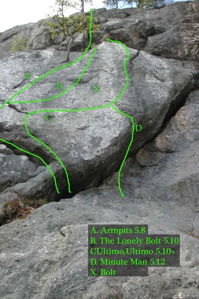 slabby routes on the Armpits butress... The Armpits crack is highly recomended... the other stuff is great if you like sleep slab/low angle face climbing...