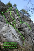 Rock Climbing Photo: The right-most routes of the center section...