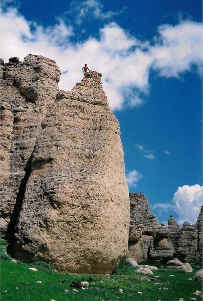 Rock Climbing Photo: On top of the Honey Bear on the FA. The route foll...