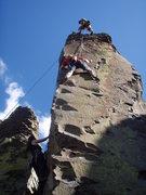 Rock Climbing Photo: Jeremy approaching the crux of Satan's Wagon, Just...