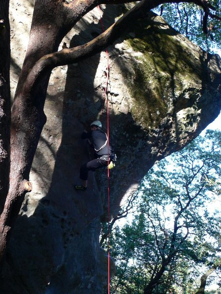 """Rock Climbing Photo: Working the crux of the Castle Rock's """"Pucker..."""