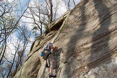 Rock Climbing Photo: Jon giving the nameless route a shot on White Wall...