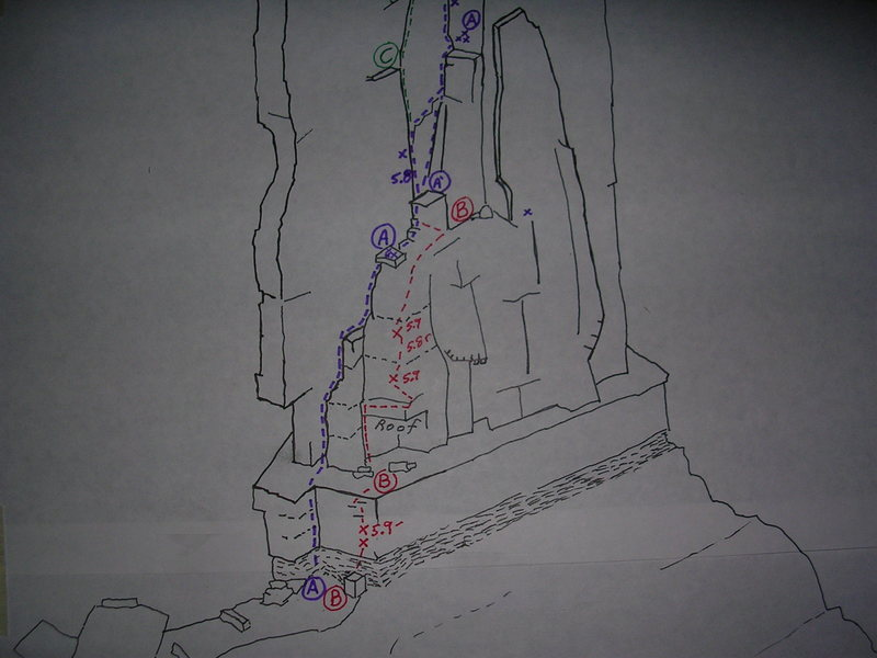 Castleton Tower, Southeast Face.<br> <br> Route &quot;A&quot; is Kor Ingalls.<br> <br> Route &quot;B&quot; is the new start.  The crux is not marked in this rough sketch.  Heads up above the last bolt.