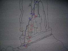 """Rock Climbing Photo: Castleton Tower, Southeast Face.  Route """"A&qu..."""