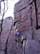 Rock Climbing Photo: Travis Melin sticking the first crux.