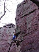 Rock Climbing Photo: Travis sticking the second crux.