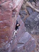 Rock Climbing Photo: Moving into the first crux. Photo: T.Melin