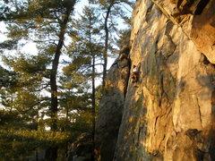 Rock Climbing Photo: Dane high on the left slab.