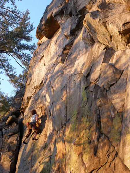 Dane finishing the left slab. Amazing yellow Lichen on this wall!