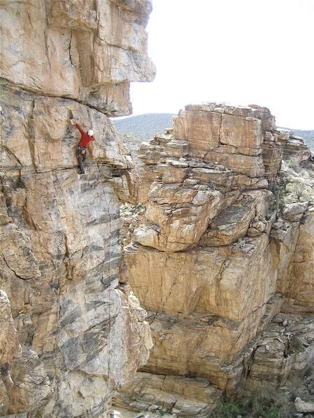 Jesse Schultz half way up the climb.