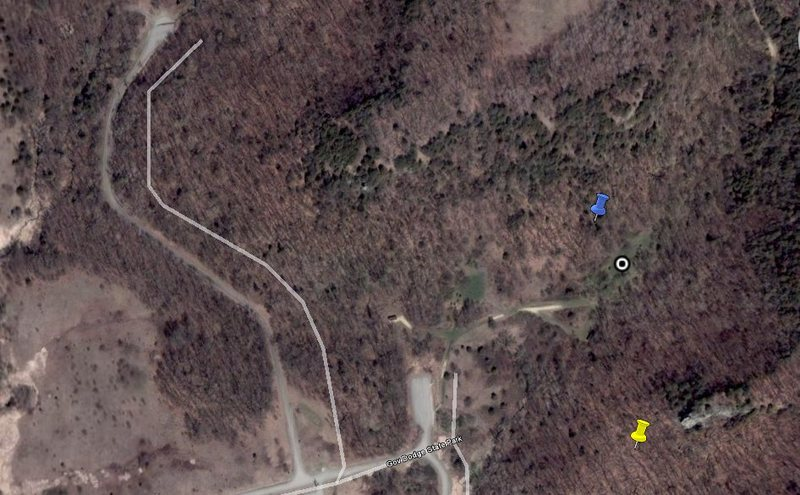 White Spot- Group Campsite G<br> Blue- Maybe a few boulders, though we didn't spend much time looking up here<br> Yellow- Group Camp G Boulders