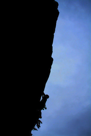 High Exposure Silhouette  Climber- Shane Johnson; Photographer- Mike Murray