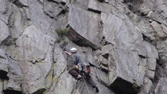 Rock Climbing Photo: Eric on lead P2 conquering the gear puzzle.