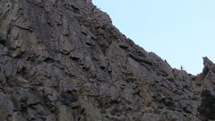 Rock Climbing Photo: The second belay located under the ledge.