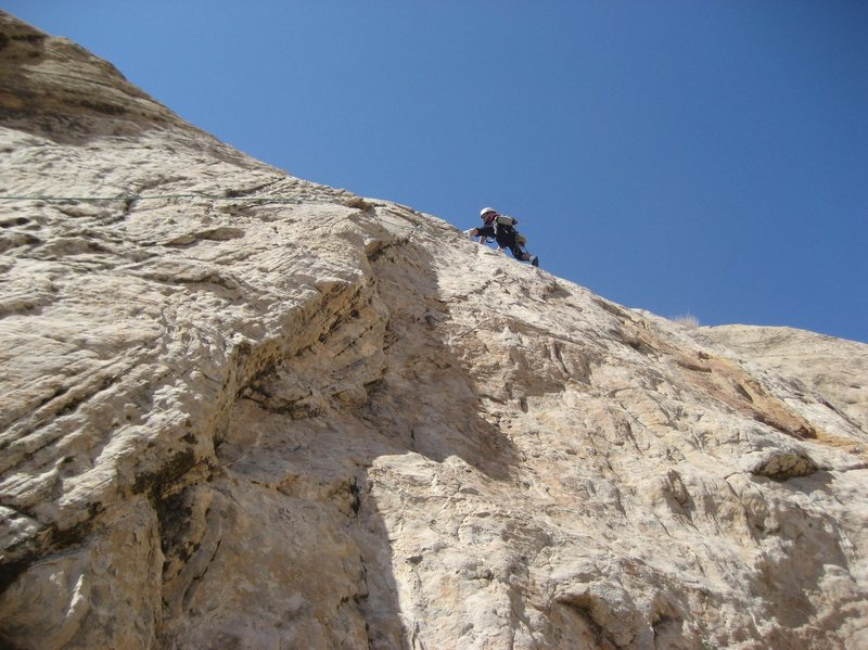 Paul on the final 5.9 pitch  . Photo Pat Moe