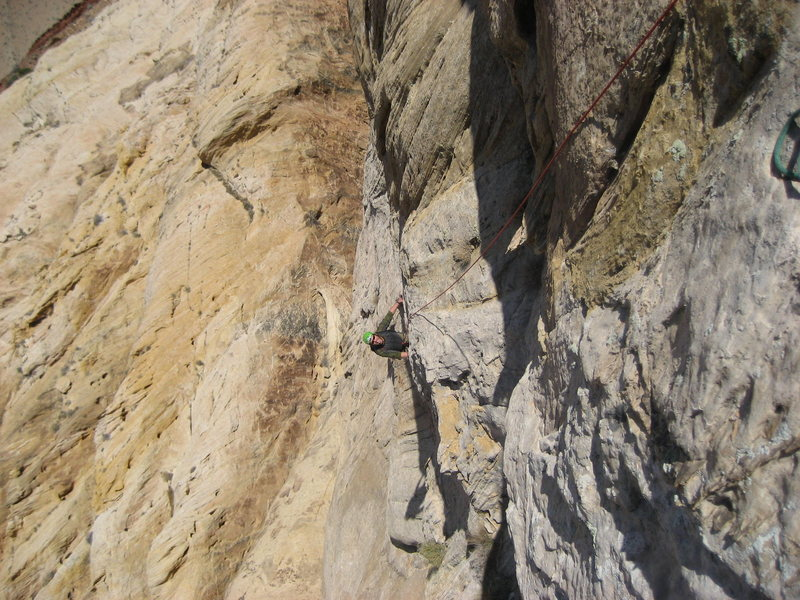 Rock Climbing Photo: Patrick nearing the top of the last pitch