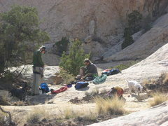 Rock Climbing Photo: After the climb.L to R dog Dotty, Steve, Patrick, ...
