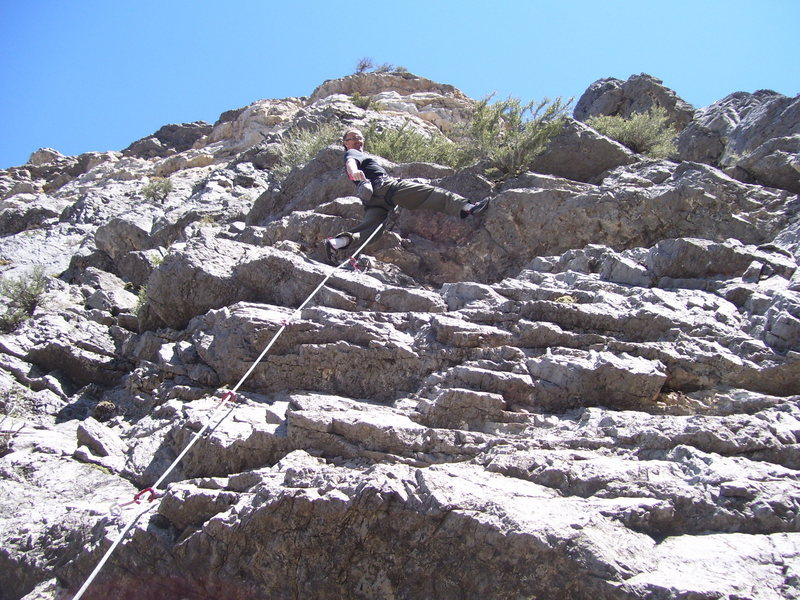 Rock Climbing Photo: DK enjoing the HUGE jugs at the last roof! You wil...