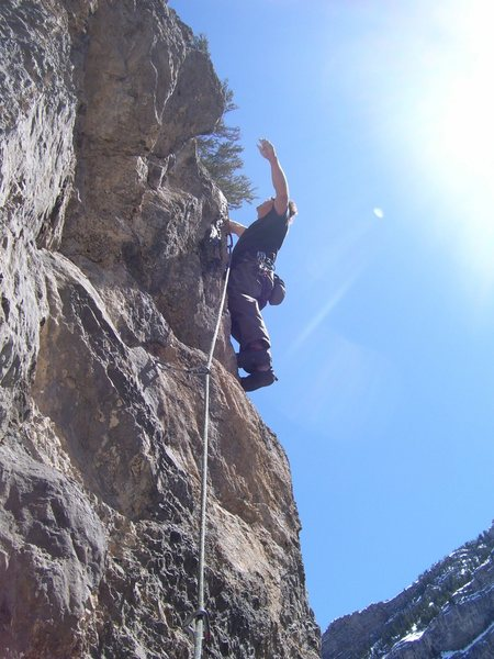 Rock Climbing Photo: Dk has worked through the cruxy start and is now i...