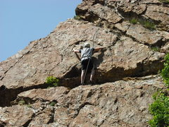 Rock Climbing Photo: Scared as hell, trying to avoid the 'ol Elvis leg!