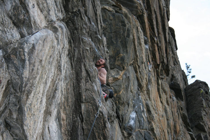 Rock Climbing Photo: Sam finishing the last mantle, couldn't tell you w...