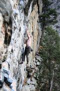 Rock Climbing Photo: Sam stickin' the crux.
