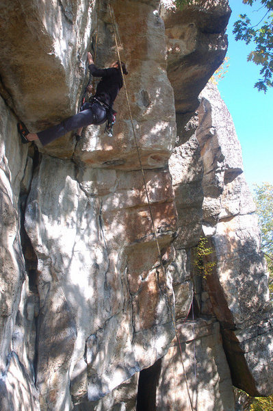 Gwen getting into the P2 crux.