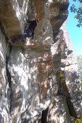 Rock Climbing Photo: Gwen getting into the P2 crux.