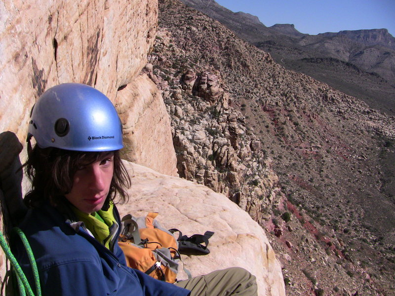 Rock Climbing Photo: At a belay on Purblind Pillar. Red Rocks, NV.