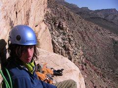 Rock Climbing Photo: At a belay on Purblind Pillar. Red Rocks, NV.